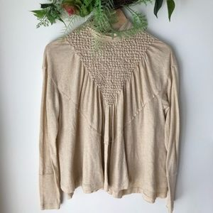 Free People Smocked Mock Neck Top